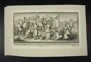 AgréAble Genesis 24:51 Vulgate Pierre Gallays Sc Gravure C1700 Rebecca Chameaux Camels