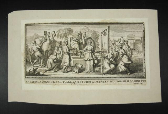 Genesis 24:51 Vulgate Stone Gallays Sc Engraving c1700 Rebecca Camels Camels