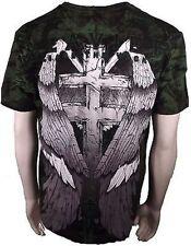 Xzavier Release The Wicked Gravestone Skull Wings Cross Adult Mens T Shirt Large