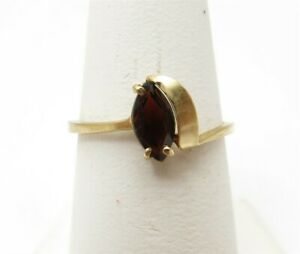 14K Yellow Gold Marquise Garnet Bypass Solitaire Ring Size 6.5