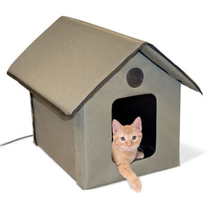 Image Is Loading New Cat House Heated Outdoor Kitty Bed Pet