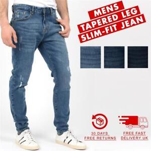 Nuevo-Para-Hombres-Jeans-Slim-Fit-Pantalones-regular-con-aspecto-envejecido-de-extraccion-y-Llano