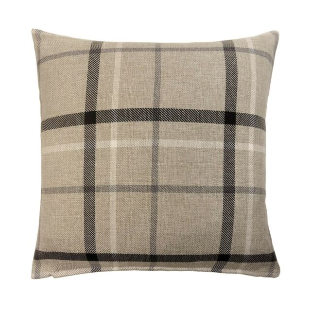 """2 X WOVEN CHECK BLACK GREY BEIGE 17/"""" 43CM CUSHION COVERS TO MATCH CURTAINS"""