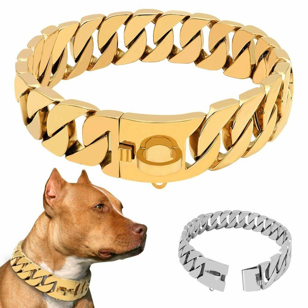 Metal Stainless Steel Dog Collar Steel Chain Martingale High-End Show Collar Bul