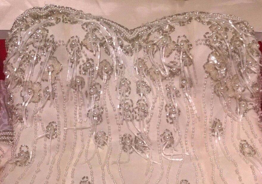 Alyce Designs Weiß Formal   Prom Dress Beaded Above Knee Mini Größe 0P