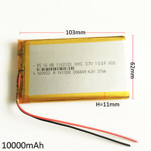 Details about 3 7V 10000mAh rechargeable Battery 1162103 LiPo polymer For  Power Bank Tablet PC