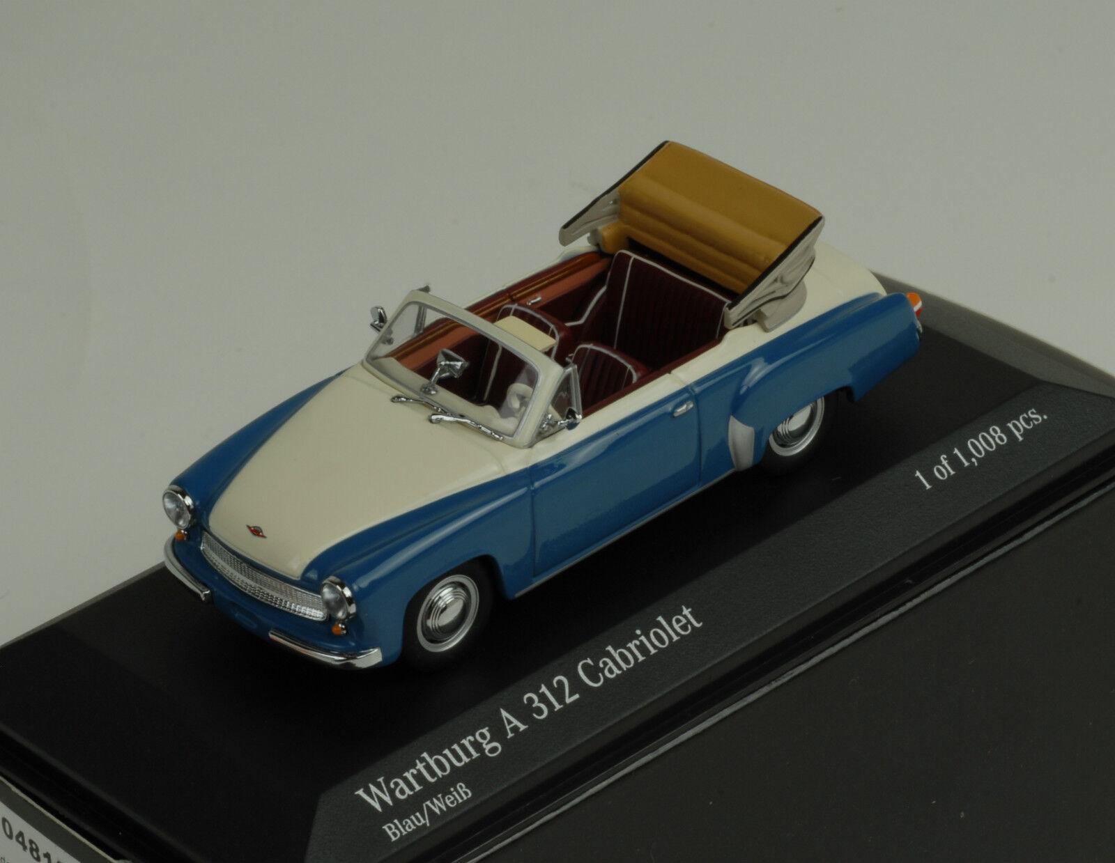 1958 Wartburg A312 Cabriolet bluee White bluee White 1 43 Minichamps