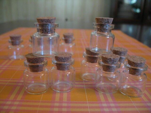 100 4ml Bitty Bottles. Small Glass Vials W/ Cork Lids. Bottles with Cork Topper.