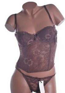 Bustier-sexy-et-string-de-couleur-marron-reference-Carla-de-marque-Philis