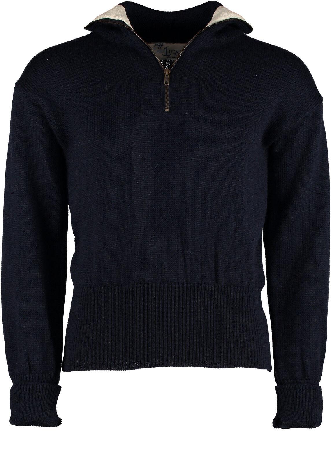 verdewich 100% Puro Nuova Lana Britannica 1 4 ZIP Il Marinaio's Sweater (41029)