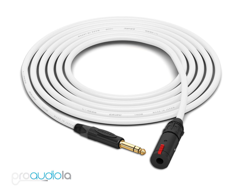 Canare Quad L-4E6S Auriculares Cable de extensión     Neutrik oro TRS   blancoo 25 pies  opciones a bajo precio