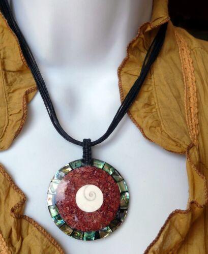 Muschelkette roter Koralle Muschel Shiva Auge Bali Halskette Bali Indonesien