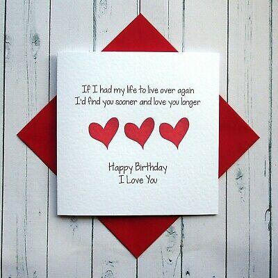 Details About BIRTHDAY CARD WIFE HUSBAND GIRLFRIEND BOYFRIEND PARTNER Romantic Card LOVE