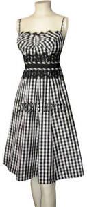 KAREN-MILLEN-BLACK-amp-WHITE-GINGHAM-LACE-CORSET-DRESS-size-US-6-UK-10-EUC35