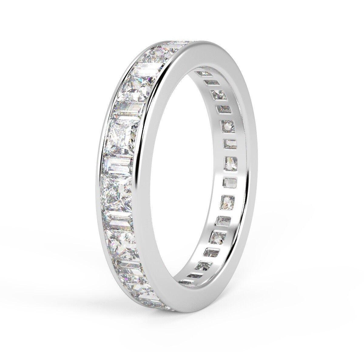 1 50 Ct Princess Amp Baguette Diamond Full Eternity Ring Uk