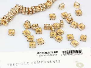 All Sizes Genuine PRECIOSA Gold Plated Square Rondelle Beads Crystal Color