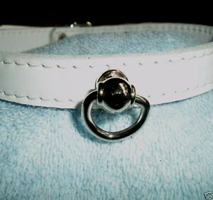 Collar-Leather-Collar-1-2-034-White-Post-amp-D-Ring-Hand-crafted-Gothic-Punk