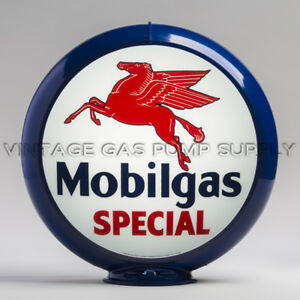 "Mobilgas Special 13.5"" Gas Pump Globe w/ Dark Blue Plastic Body (G149)"