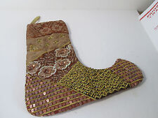 KIRKS FOLLY Elegant Christmas Stocking Gold Beaded Brocade Sequins 15""