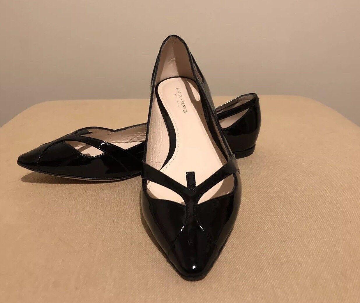 Bottega Veneta Patent Black Leather Point Toe Toe Toe Flats Size 37.5 EUR. 59e75d