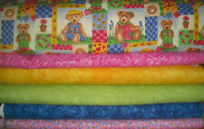 """Flannel Girl Style QUILT Fabric KIT  CRIB SIZE/Lap Size 35"""" x 42"""" Pink/Grn/Blue/"""