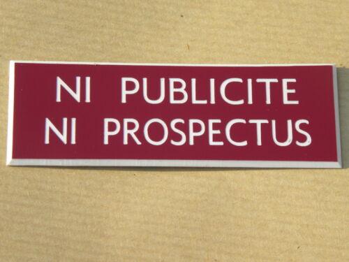 """plaque gravée boite au lettres /""""NI PUBLICITE NI PROSPECTUS/"""" STOP PUB ft 29x100mm"""