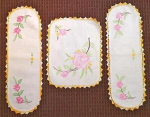 3 Vintage Embroidered Doilies Pink Roses Gold Crochet Trim Armchair Antimacassar