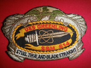 US-Navy-Patch-USS-GREENLING-SSN-614-Submarine-STEEL-TRUE-And-BLADE-STRAIGHT