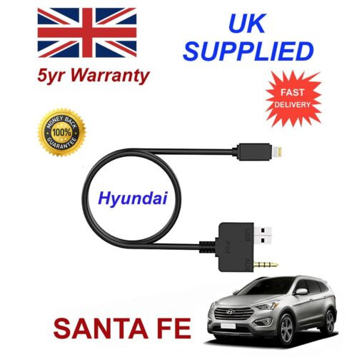 Para Hyundai Santa Fe Iphone 5 6 7 8 Interfaz De Audio Música Auxiliar 8 pines Cable de carga