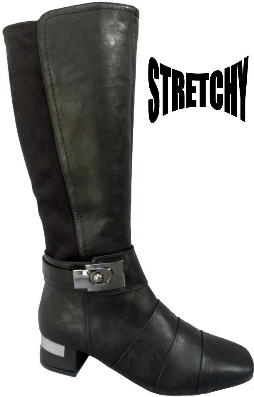 Chaussures Femme MARCO TOZZI 25566-21 Dull noir Genou Longueur talon argenté bottes UK 3