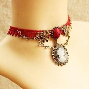 Stylish-Cameo-Red-Rose-Lace-Fashion-Necklace-Jewelry-Women-Gift-Xmas-Pendant-LX