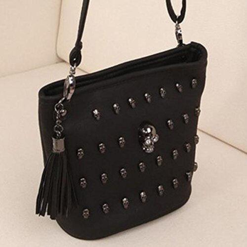 Black Women Girl Punk Skull Clutch Long Zipper Purse Leather Wallet Card Holder