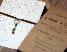 Rustic doily cut-out digital print wedding invitation-Kraft Paper Insert Card