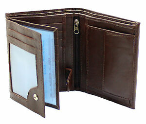 Mens-RFID-Quality-Soft-Leather-Wallet-ID-Window-Zip-And-Coin-Pocket-503-Brown
