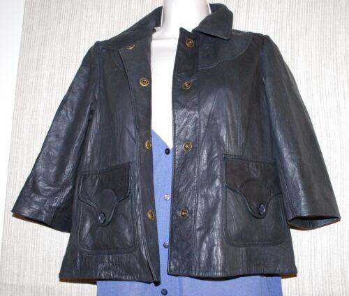 Dome cuir Taille courtes noir s et à souple femme en structuré courtes manches manches Veste à ffUxH1