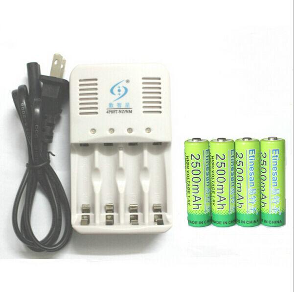 4 X NiZn 1.6V 2500mAh AA Rechargeable Battery + 4 ports NiZn NiMH AA AAA CHARGER