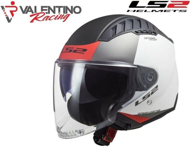 L Bianco Opaco//Rosso LS2 306002102L Casco Moto Jet OF600 Copter Urbane Unisex