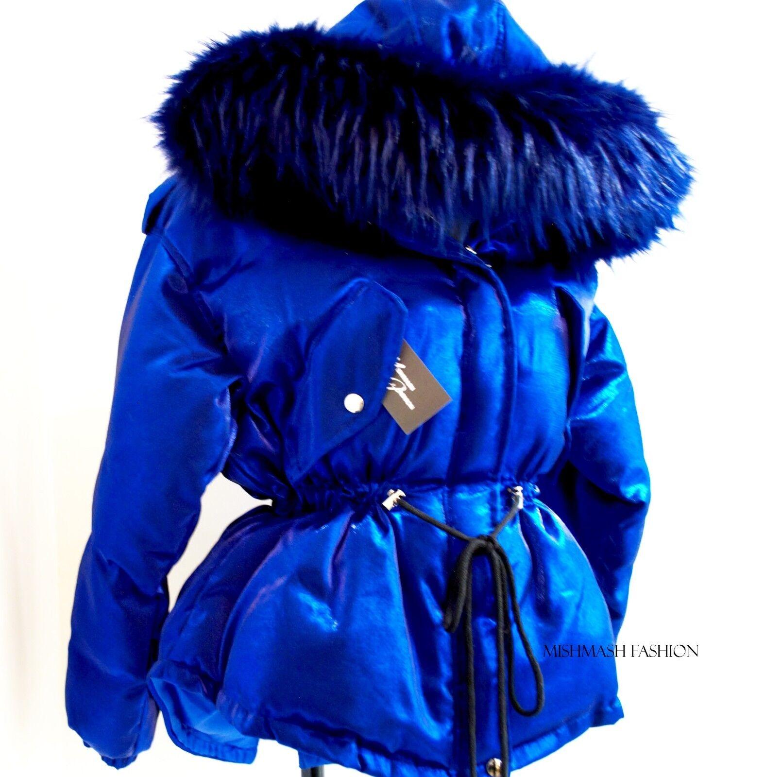 bluee Faux Fur Coat Size