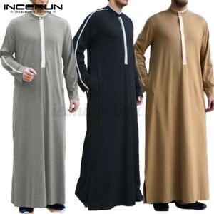 Mens Silky Jubba Kaftan Dishdash Thobe Arab Robe Islamic Clothing Saudi Robe Top