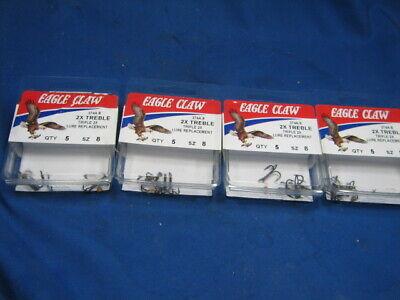 20ea Eagle Claw Sz 4 374TS-4 2X Treble Hooks