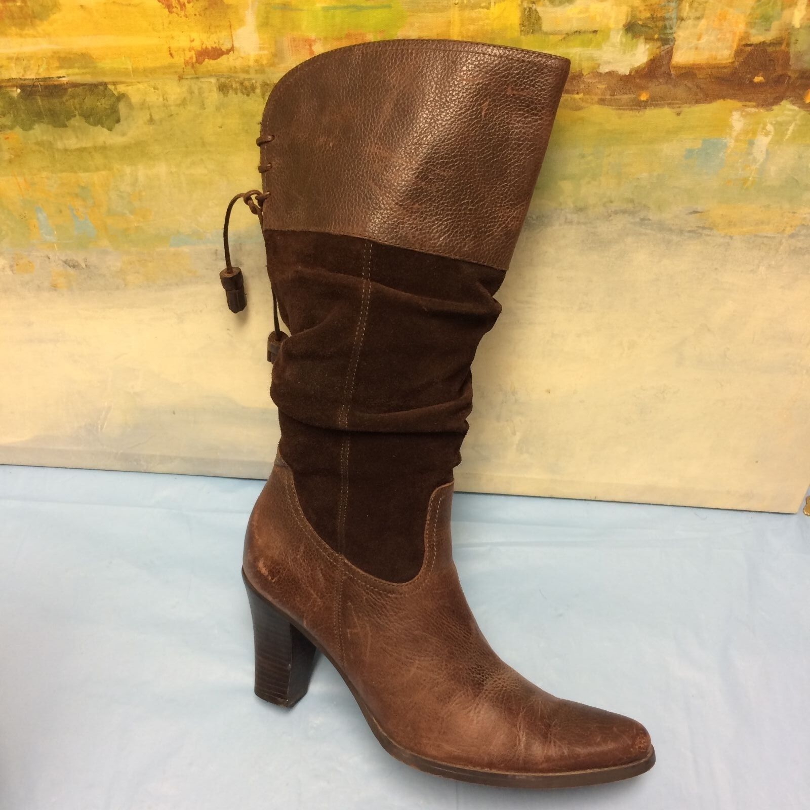 Ana Tall Brown Leather & Suede Tall Pointed Toe Fashion Boots Sz. 7 M
