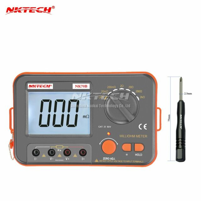 Nktech Nk70b 4 Wire Digital Low Resistance Meter Milliohm Ohmmeter Test Vc480c For Sale Online