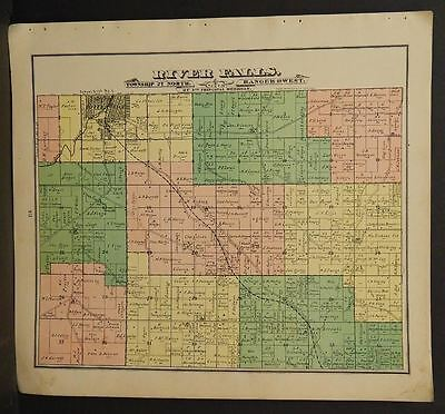 North America Maps Hospitable Wisconsin Pierce County Map River Falls Township 1895 J11#74 Handsome Appearance