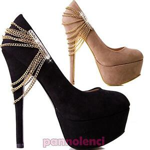Decolletè scarpe donna scamosciate catenine STRASS gioiello tacchi ED12088-9