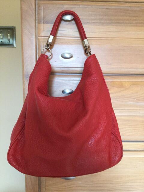 huge selection of arrives outlet sale YSL Yves Saint Laurent Red Leather Large Shoulder Bag Authentic Preowned