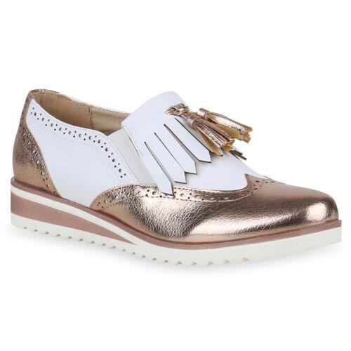 Damen Plateauschuhe Halbschuhe Profilsohle Wedges 895959 Schuhe