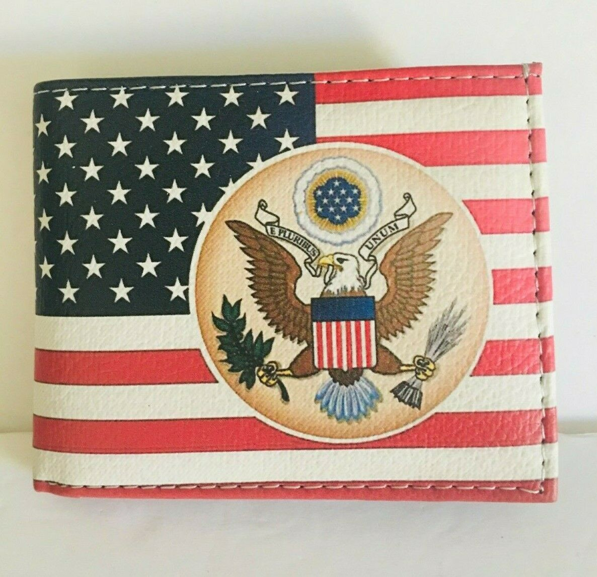 Men's Bi-fold The Great Seal of The USA & Flag print Design Leather Wallet