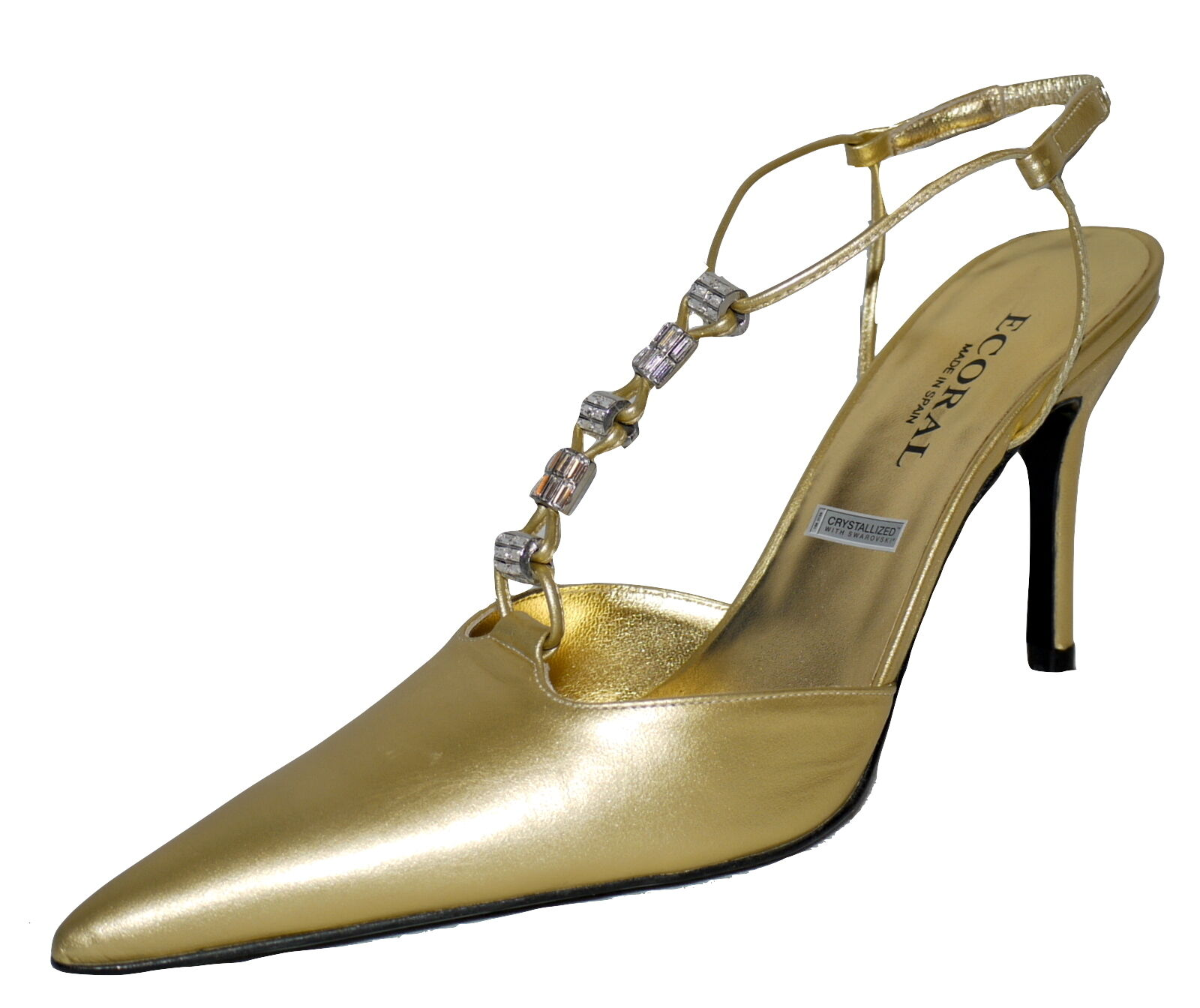 Ecoral Spanish Designer Sling Swarovski Back Schuhes Gold Leder With Swarovski Sling Elements f85c14