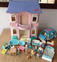 Fisher Price Loving Family Grand Doll House Van Figures Furniture Vintage Pink