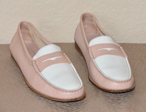 TODS Leather Pink/Off White Color-Block Penny Vamp